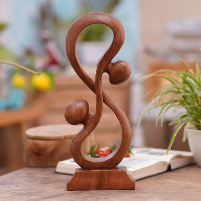 Wood sculpture, 'Acrobat Lovers' - Hand Crafted Romantic Wood Sculpture