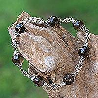 Smoky quartz link bracelet, 'Royal Elegance' - Bali Handcrafted Smoky Quartz and Sterling Silver Bracelet