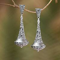 Sterling silver dangle earrings, 'Temple Bells'
