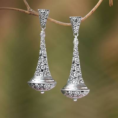 Sterling silver dangle earrings, 'Temple Bells' - Handmade Sterling Silver Dangle Earrings