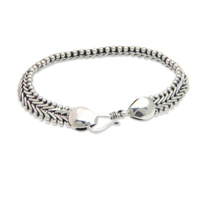 Sterling silver braided bracelet, 'Herringbone' - Sterling Silver Chain Bracelet