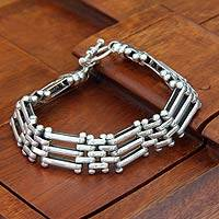 Men's sterling silver link bracelet, 'Fences'