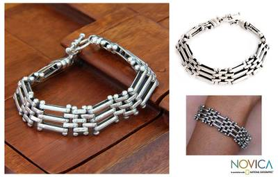 Men's sterling silver link bracelet, 'Fences' - Men's Sterling Silver Link Bracelet