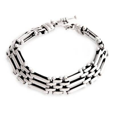 Men's sterling silver link bracelet, 'Fences' - Men's Sterling Silver Link Bracelet