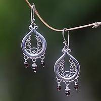 Garnet chandelier earrings, 'Innocence' - Sterling Silver Filigree Garnet Earrings