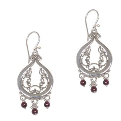 Garnet chandelier earrings, 'Innocence' - Sterling Silver Filigree Garnet Earrings