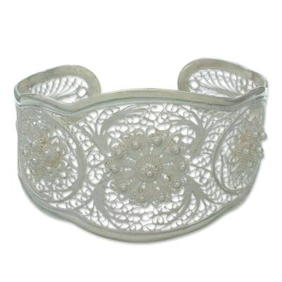Floral Silver Filigree Bracelet from Indonesia