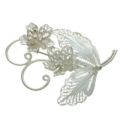 Sterling silver brooch pin, 'Azalea Bouquet' - Sterling silver brooch pin