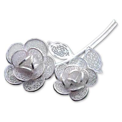 Sterling silver filigree brooch pin, 'Wild Roses' - Floral Sterling Silver Filigree Pin