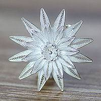 Sterling silver brooch pin, 'Lotus Filigree' - Floral Filigree Sterling Silver Brooch Pin