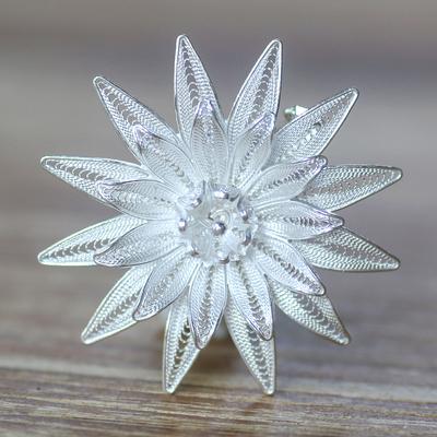 Sterling silver brooch pin, 'Lotus Filigree' - Floral Filigree Sterling Silver Brooch Pin
