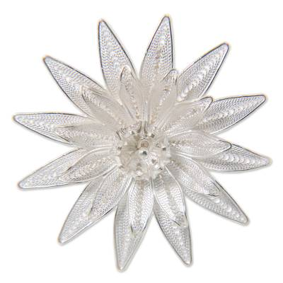Floral Filigree Sterling Silver Brooch Pin