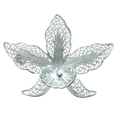 Sterling silver brooch pin, 'Orchid Filigree' - Sterling silver brooch pin