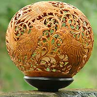 Coconut shell sculpture, 'Proud Roosters' - Coconut Shell Carving with Stand