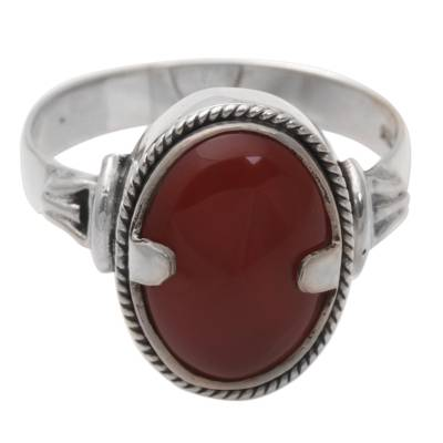 Carnelian ring, 'Dragon Eye' - Unique Sterling Silver and Carnelian Ring