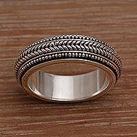 Men's sterling silver spinner ring, 'Welcome' - Men's Sterling Silver Spinner Ring Bali