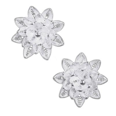 Sterling silver flower earrings, 'Gardenias' - Floral Sterling Silver Filigree Earrings