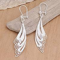 Sterling silver filigree earrings, 'Wings' - Sterling Silver Filigree Bird Earrings