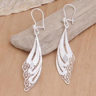 Sterling silver filigree earrings, 'Wings' - Sterling Silver Filigree Bird Earrings