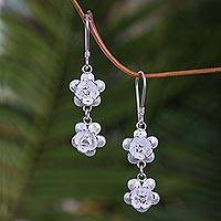 Sterling silver flower earrings, 'Rose Duet' - Sterling Silver Dangle Earrings