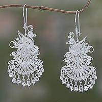 Sterling silver chandelier earrings, 'Royal Peacock' - Animal Themed Sterling Silver Chandelier Earrings