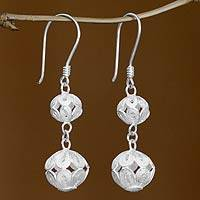 Sterling silver dangle earrings, 'Two Worlds' - Sterling silver dangle earrings