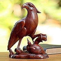 Wood statuette, 'Mother Hawk' - Unique Wooden Bird Statuette from Bali and Java