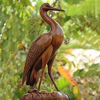 Wood sculpture, 'A Heron's Grace' - Wood sculpture