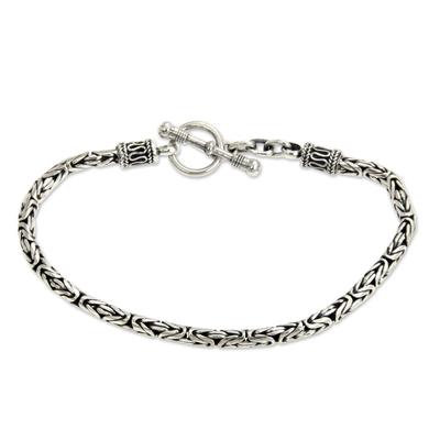 Sterling silver braided bracelet, 'Balinese Grace' - Balinese Style Sterling Silver Chain Bracelet