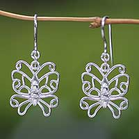 Sterling silver dangle earrings, 'Butterfly Beauty' - Sterling silver dangle earrings