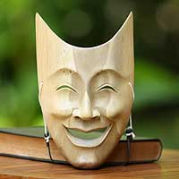 Wood mask, 'Happy Wisdom' - Indonesian Hibiscus Wood Mask