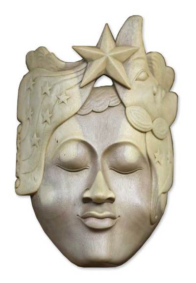 Wood mask, 'Goddess of the Moon and Stars' - Hand Carved Wood Mask from Indonesia
