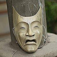 Wood mask, 'Face of Sadness' - Unique Handcrafted Wooden Theatrical Tragedy Mask