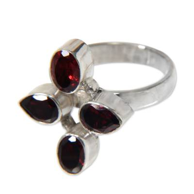 Garnet cocktail ring, 'Blossom of Fire' - Garnet and Silver Cocktail Ring