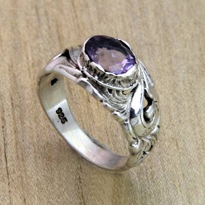 Floral Sterling Silver and Amethyst Ring