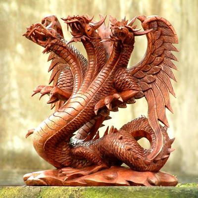 Wood sculpture, 'Guardian of the Home' - Unique Wood Dragon Sculpture