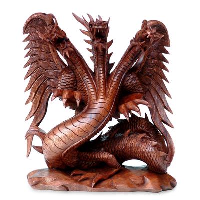 Wood sculpture, 'Guardian of the Home' - Unique Wood Dragon Sculpture