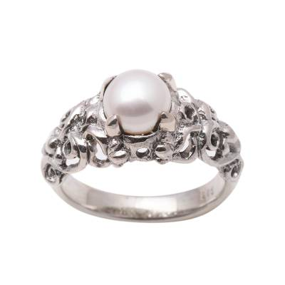 Hand Made Sterling Silver and Pearl Ring
