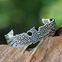 Sterling silver cuff bracelet, 'Royal Eagle'