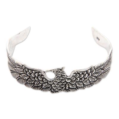 Sterling silver cuff bracelet, 'Royal Eagle' - Sterling silver cuff bracelet