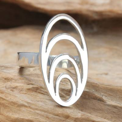 Modern Balinese Sterling Silver Cocktail Ring