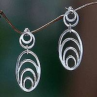 Sterling silver dangle earrings, 'Expansion' - Sterling silver dangle earrings