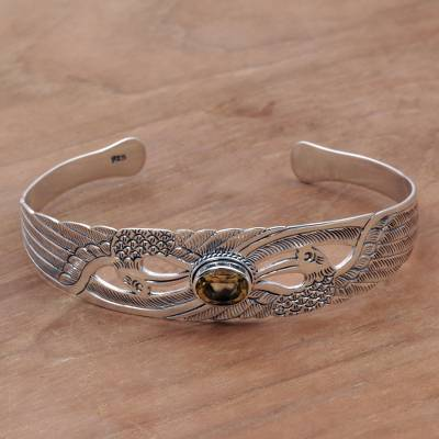 Citrine cuff bracelet, 'Avian Gift' - Citrine Sterling Silver Cuff Bracelet