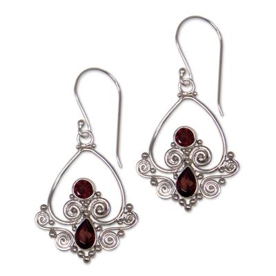 Garnet dangle earrings, 'Heart in Love' - Heart Shaped Garnet Sterling Silver Earrings