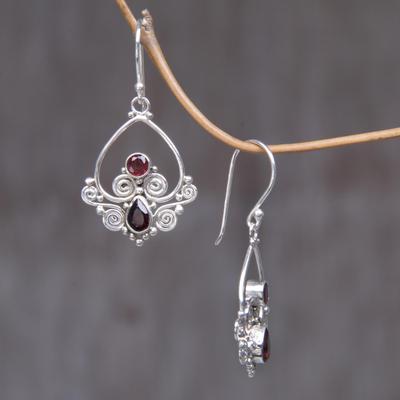 0a11ee3ae42e0 Heart Shaped Garnet Sterling Silver Earrings, 'Heart in Love'