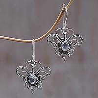 Rainbow moonstone dangle earrings, 'Butterfly Love' - Moonstone and Silver Handcrafted Dangle Earrings