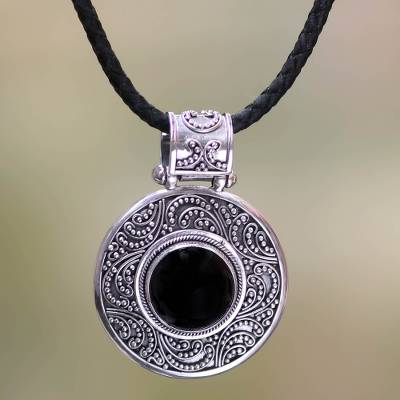 Onyx pendant necklace, 'Midnight Beauty' - Indonesian Onyx Sterling Silver Pendant Necklace