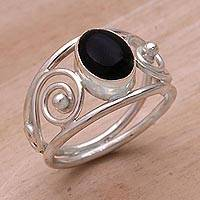 Onyx solitaire ring, 'Grace' - Handmade Sterling Silver and Onyx Ring
