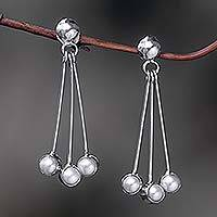 Pearl dangle earrings, 'Finesse' - Sterling Silver Pearl Dangle Earrings