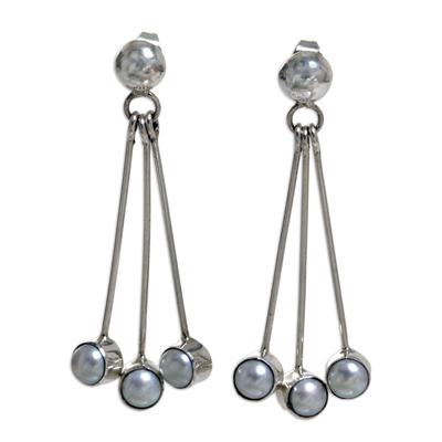 Pearl dangle earrings, 'Finesse' - Sterling Silver Pearl Dangle Earrings